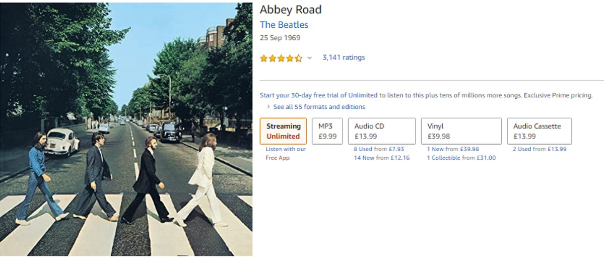 The Beatles Abbey Road album