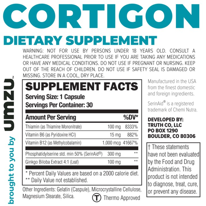 Cortigon Supplement facts